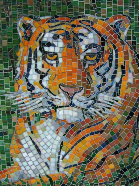 """Мозаичное панно """"Тигр"""""""